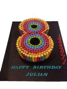 Large Number Smartie Rainbow Cake