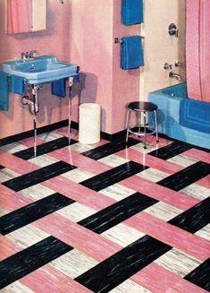 20 vintage pink bathrooms: See some wild bubblegum era midcentury home decor of the & Click Americana : 20 vintage pink bathrooms: Bubblegum era midcentury home decor of the and at Click Americana bathroom bathroomideas bathroom Retro Vinyl Flooring, Linoleum Flooring, Vinyl Tiles, Lavabo Vintage, Dubai Miracle Garden, Vintage Bathrooms, Pink Bathrooms, Modern Bathrooms, Diy Kit
