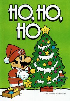 Super Mario Bros christmas cards 1989 posted by Diy Christmas Cards, Christmas Tree Themes, Christmas Images, Christmas Art, Mario Bros., Mario Party, Super Mario Bros, Jingle All The Way, Cellphone Wallpaper