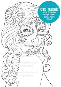 Digital Stamp Day Of The Dead Calavera Girl Catrinas Digistamp By SLSLines On Etsy