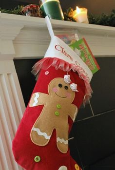 Appliqued Red Corduroy Gingerbread Stocking with Monogram