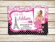 Girl's Custom Pink & Black Polka Dots Paris Poodle Birthday Party Printable Invitation. $10.00, via Etsy.
