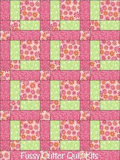 Pink Green Spring Daisy Easter Flowers Floral Fabric Fast Easy Beginner Quilt Blocks Top Kit Quilting Squares Material Baby Child Blanket