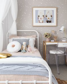 kids interior – Oh Eight Oh Nine Scandi Bedroom, Bedroom Decor, Scandinavian Nursery, Bedroom Interiors, Girls Bedroom Wallpaper, Little Girl Rooms, Home Buying, Decoration, Home Decor
