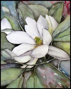 Magnolia Watercolors Painting
