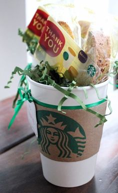 Teacher Appreciation Gift for Guy / Male Teachers:  Thanks a Latte For All That You Do!  (Starbucks gift cards look great when packaged like Hi Sugarplum! shows.)