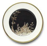 Vieux Kyoto Dessert Plate / Black Center - Alberto Pinto - www.fxdougherty.com