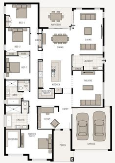 Floor Plan Friday: Good use of space Hi! I found this plan last week – you might like this one. It's called the Monterey Nouveau from here. You can also click. New House Plans, Dream House Plans, House Floor Plans, My Dream Home, Dream Houses, House Plans One Story, Narrow House, 4 Bedroom House, House Bath