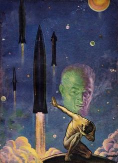 """Illustration by Paul Orban """"Space Fear,"""" for the cover of Astounding Science Fiction, March 1951"""