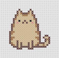 Pudge Kawaii Cat (2) Cross Stitch (Printable PDF Pattern) - Immediate Download from Etsy - Cute Cat / Kitten / Kitty Pusheen