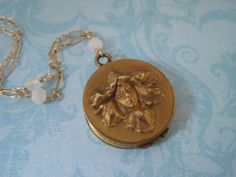 Antique Locket Art Nouveau Flower Fairy Locket Antique Locket, Vintage Lockets, Art Nouveau Flowers, Fairy, Personalized Items, Trending Outfits, Antiques, Unique Jewelry, Handmade Gifts