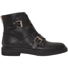 Sergio Rossi Women 20mm Seattle Buckles Leather Ankle Boots ($1,310) ❤ liked on Polyvore featuring shoes, boots, ankle booties, black, black bootie boots, leather boots, ankle boots, black ankle boots and black boots
