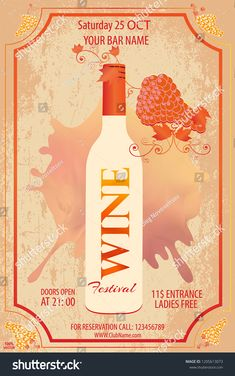 Vector illustration with bottle and grapes in grunge style for wine list on grunge background. Poster with alcoholic beverages and leaves pattern. Brush calligraphy elements for your design. Santa Margherita, Wine List, Alcoholic Beverages, Grunge Style, Grunge Fashion, Abstract Backgrounds, Party Invitations, Your Design, Vines