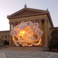 Cai Guo-Qiang was commissioned by the Philadelphia Museum of Art to create a site-specific explosion event on the front facade of the museum. via news.upperplayground.com #upnews