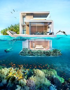 Houseboat with Underwater Ocean Views! Take the tour here: http://www.completely-coastal.com/2015/10/houseboat-with-underwater-ocean-views.html