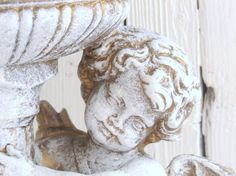 Shabby cottage angel cherub holding pillar candle by ChippedPaints Distressed Painting, Cherubs, Shabby Cottage, Pillar Candles, Gifts For Her, Centerpieces, Angels, Statue, Art