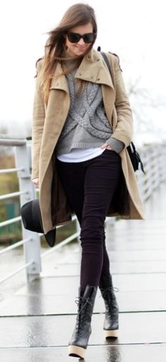 cozy cable sweater + skinny black denim + slouchy funnel neck camel coat. urban classic
