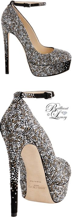 Brilliant Luxury ♦ Jimmy Choo Klerise Black Suede Platform Pumps with Hotfixed Crystals