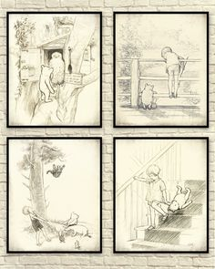 This art print set was created using vintage images of original sketches by A.A. Milne. They have been digitally distressed to give them a more aged appearance. The sketches have fantastic detail. Great collection for a nursery or childs room. They would also make a great gift for a Pooh lover. Sizes available: 8x10 8.5x11 11x14 (make selection at checkout)  All graphics are saved at 300 dpi to ensure a clear crisp image.  All of my graphics are professionally printed on high quality Epson…