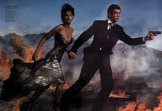 """Pierce Brosnan and Halle Berry photographed by Annie Leibovitz for """"Solid Gold"""" editorial, Vogue December 2002."""
