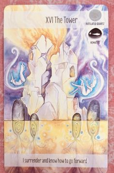 The Tower brings sudden change which is often unexpected and chaotic. The Crystal Power Tarot. This card is affiliated with Hematitecand Rutilated Quartz. Tarot Card Spreads, Tarot Cards, The Tower Tarot, Types Of Angels, Sudden Change, Oracle Tarot, Psychic Development, Make Ready, Rutilated Quartz