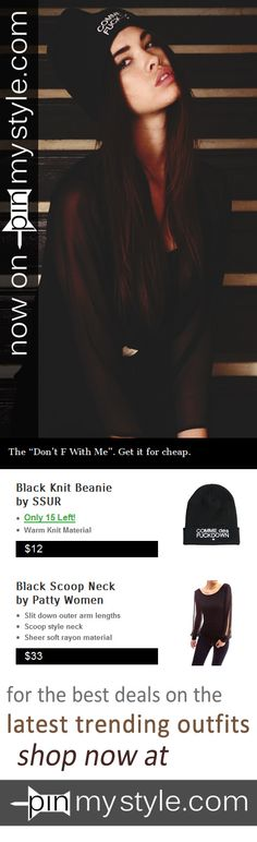 Now on Sale at http://pinmystyle.com/womens-style/comme-des-f-down-ssur-beanie/ -- The black, limited run Comme des Fuckdown Down knit beanie by #SSUR. Get it for cheap, and cop the sheer #PattyBoutik longsleeve if you want to add that touch of swag. #cute #sexy #girl #fashion #outfits #gangsta #swag #shop #sale #discount #beautiful #model #hood #beanie #skully #commedesfuckdown #black #gizalagarce