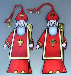 Make a sturdy two-sided St. Nicholas ornament!   PDFs in two sizes make ornaments 8- or 5-inches tall. The larger size is better for young children, as it is easier to cut out.