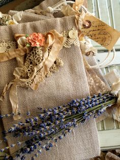 Sweet Burlap Bag With Vintage Trims & a Tea-Dyed Tag