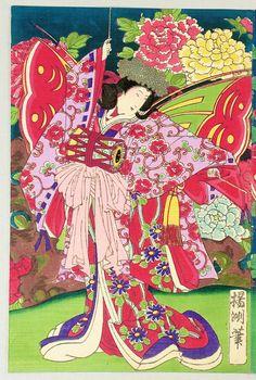 Butterfly Dancers Japanese Prints, Japanese Art, Japanese Female, Japan Illustration, Woodblock Print, Asian Art, Wood Print, Illusions, Butterfly