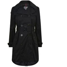 Moncler Barvarelle Trench Jacket ($850) ❤ liked on Polyvore featuring outerwear, jackets, black, moncler jacket, buckle jackets, double breasted trench coat, reversible jackets and double breasted jacket