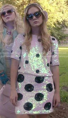 Chanel 3's sequin polka dot co-ord set on Scream Queens.  Outfit Details: http://wornontv.net/52685/ #ScreamQueens
