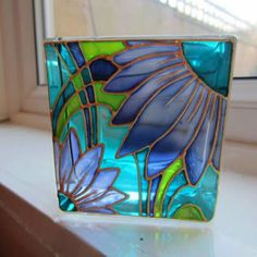 Hand Painted Glass Candle Holder by on Etsy, Stained Glass Paint, Stained Glass Flowers, Stained Glass Projects, Glass Block Crafts, Glass Bottle Crafts, Glass Bottles, Mosaic Art, Mosaic Glass, Glass Art