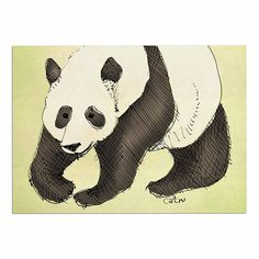 KESS InHouse Carina Povarchik 'Happy Panda' Black Animals Dog Place Mat, 13' x 18' ^^ New and awesome dog product awaits you, Read it now  : Dog food container