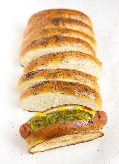 Homemade Top-sliced Hot Dog Buns - elevate your summer hot dogs! | www.seasonsandsuppers.ca | #hotdog #buns #BBQ