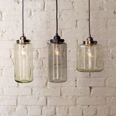 contemporary pendant lighting by West Elm. Inspired by mercury glass jars hung in clusters Glass Pendant Light, Glass Pendants, Pendant Lighting, Pendant Lamps, Kitchen Pendants, Island Pendants, Hanging Pendants, Jar Chandelier, Antique Chandelier