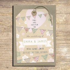25 Pastel Flowers and Bunting Wedding Invitations, Rustic Wedding Stationery, Outdoor Wedding, Modern Wedding