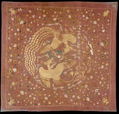 元 團鳳紋繡片 Panel with Phoenixes and Flowers Period: Yuan dynasty (1271–1368) Date: 14th century Culture: China Medium: Silk and metallic thread embroidery on silk gauze Dimensions: Overall: 56 3/8 x 53 in. (143.2 x 134.6 cm) Mount: 60 5/8 x 57 5/8 x 3 in. (154 x 146.3 x 7.6 cm) Classification: Textiles-Embroidered Credit Line: Purchase, Amalia Lacroze de Fortabat Gift, Louis V. Bell and Rogers Funds, and Lita Annenberg Hazen Charitable Trust Gift, in honor of Ambassador Walter H. Annenberg…
