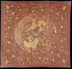 元 團鳳紋繡片 Panel with Phoenixes and Flowers Period: Yuan dynasty (1271–1368) Date: 14th century Culture: China Medium: Silk and metallic thread embroidery on silk gauze Dimensions: Overall: 56 3/8 x 53 in. (143.2 x 134.6 cm) Mount: 60 5/8 x 57 5/8 x 3 in. (154 x 146.3 x 7.6 cm) Classification: Textiles-Embroidered Credit Line: Purchase, Amalia Lacroze de Fortabat Gift, Louis V. Bell and Rogers Funds, and Lita Annenberg Hazen Charitable Trust Gift, in honor of Ambassador Walter H. Annenberg…