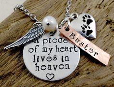 Personalized Pet Loss Remembrance - A Piece of My Heart Lives In Heaven - Hand Stamped Necklace - Dog Cat Pet Memorial Memento Jewelry