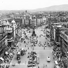 "photo: ""View from Nelson's Pillar, Dublin, Ireland - Century Via National Library of Ireland Old Pictures, Old Photos, Vintage Photos, Photo Engraving, Dublin City, Road Trippin, Paris Skyline, Past, Buses"