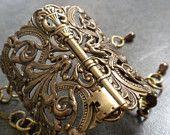Wide steampunk skeleton bracelet