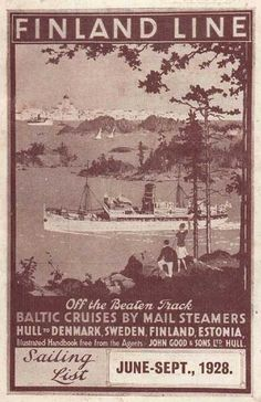 Finland Line ~ Finska Ångfartygs Ab ~ FÅA ~ Effoa ~ Finland Steamship Co. Vintage Ads, Vintage Posters, Vintage World Maps, Baltic Cruise, Finland Travel, Poster Ads, Ancient History, Travel Posters, Sailing