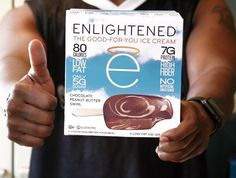 A big thumbs up  for the ENLIGHTENED chocolate  peanut butter swirl ice cream bar!   Dreamy chocolate fudge ice cream blended with swirls of creamy peanut butter this flavor packs a whopping 7G of protein and high fiber for only 80 calories! Talk about the perfect treat   What's your favorite flavor??
