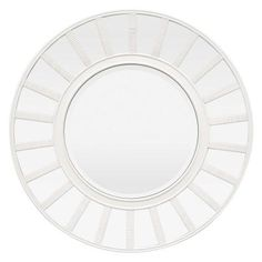 Twenty-three mini mirrors surround beveled glass like the spokes of a wheel in the modern design of the Three Hands White Mirror with Mirrored Frame. Beveled Edge Mirror, Wood Mirror, Wall Mounted Mirror, Beveled Glass, Mirror Words, Shower Mirror, White Wall Mirrors, Mirror Shapes