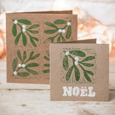 Christmas crafts: Make your own mistletoe and holly block-print cards Christmas Blocks, Christmas Art, Handmade Christmas, Christmas Card Designs, Images For Christmas, Stamped Christmas Cards, Christmas Vacation, Christmas Movies, Homemade Christmas Cards