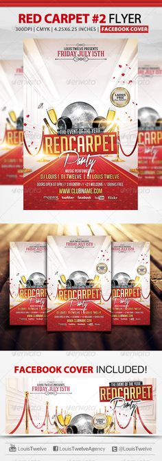 Red Carpet Party Flyer Template | Red carpets, Red carpet party ...