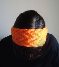Hand Knit neon bright orange cable headband, spring, summer head wrap, ear warmer, Fashion Accessory, gifts for her by ManaKori on Etsy