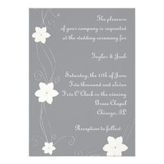 Silver Wedding Invite with White Flowers