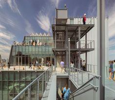 Die gestaffelten Terrassen an der ruhigen Rückseite des Gebäudes und weitere Ausstellunsflächen im Freien. (Foto: Whitney Museum)