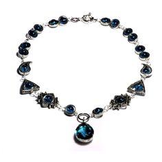 Steampunk Victorian Jewelry - Necklace - Dark Aqua Faceted Supreme Quality Diamond Cut Glass Gem Stone Jewel - Silver Tone. $41.25, via Etsy.